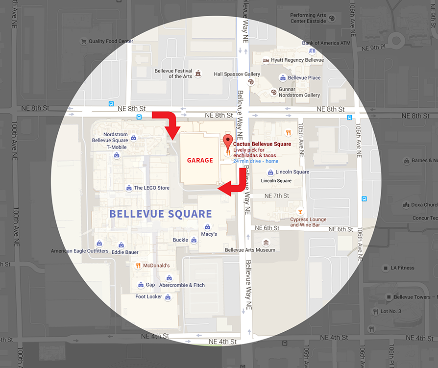 Bellevue Square Map Bellevue Parking Garage Map | Cactus Restaurants